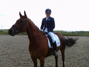 Alice on Jaffa looking very pleased after the first test 300x225 - Part-Bred Cleveland Bay Represents England at BYRDS Home International 2011