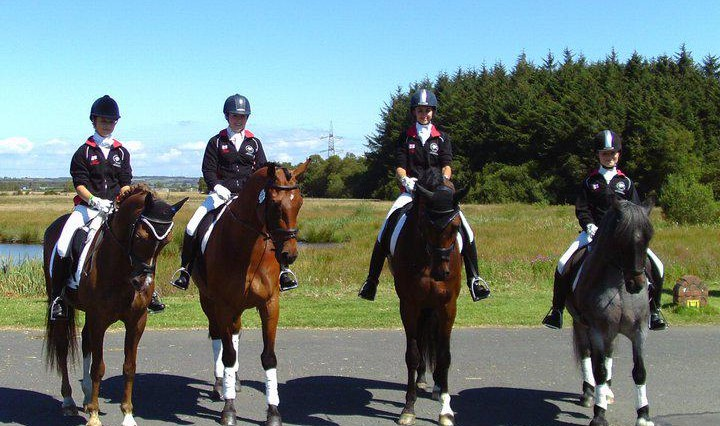 The Northern Aries Team LtoR Alex Alice Sarah and Emma 720x426 - Part-Bred Cleveland Bay Represents England at BYRDS Home International 2011