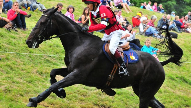 Jackabee Take XC water exit 750x426 - EquiFeast's sponsored rider qualifies for 2012 Olympics