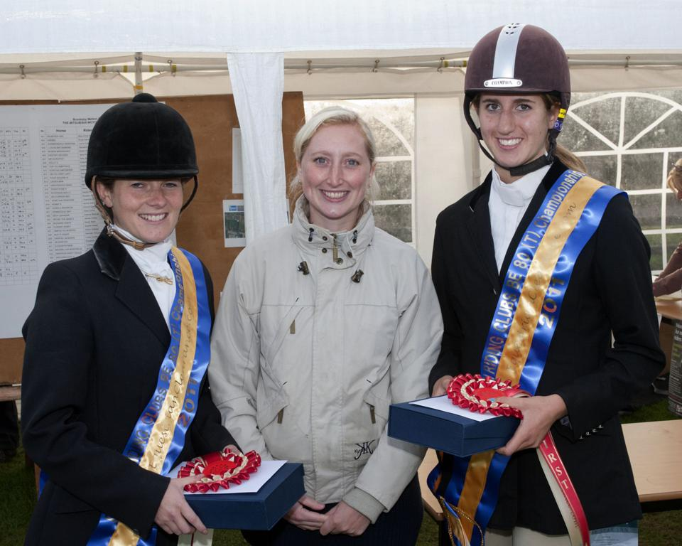 Left to right Michelle Lawrence EquestrianClearance.com Marketing Manager Katie Farmer Kate Mould - Michelle and Kate Win EquestrianClearance.com BE80(T) British Riding Clubs Championship
