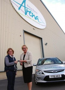 Bishop Burton College principal Jeanette Dawson presents Ginnie Turnbull with the keys to the car
