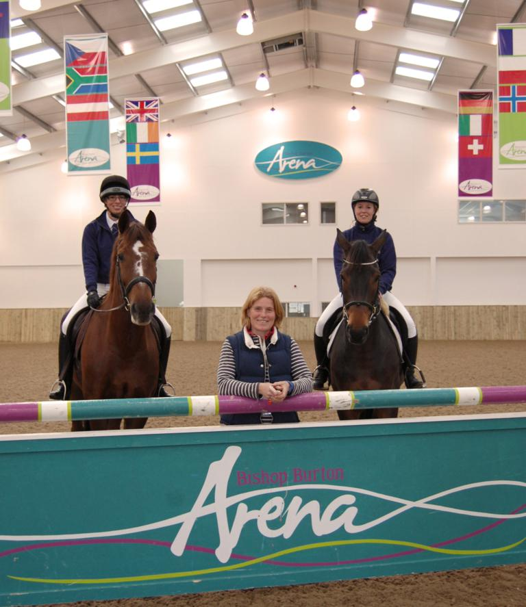 Ginnie Turnbull inside Bishop Burton Arena with students - Bishop Burton College in sponsorship deal with top eventer Ginnie Turnbull