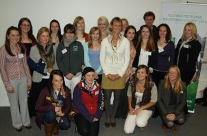 Mary King with students at the Alltech Hartpury 2012