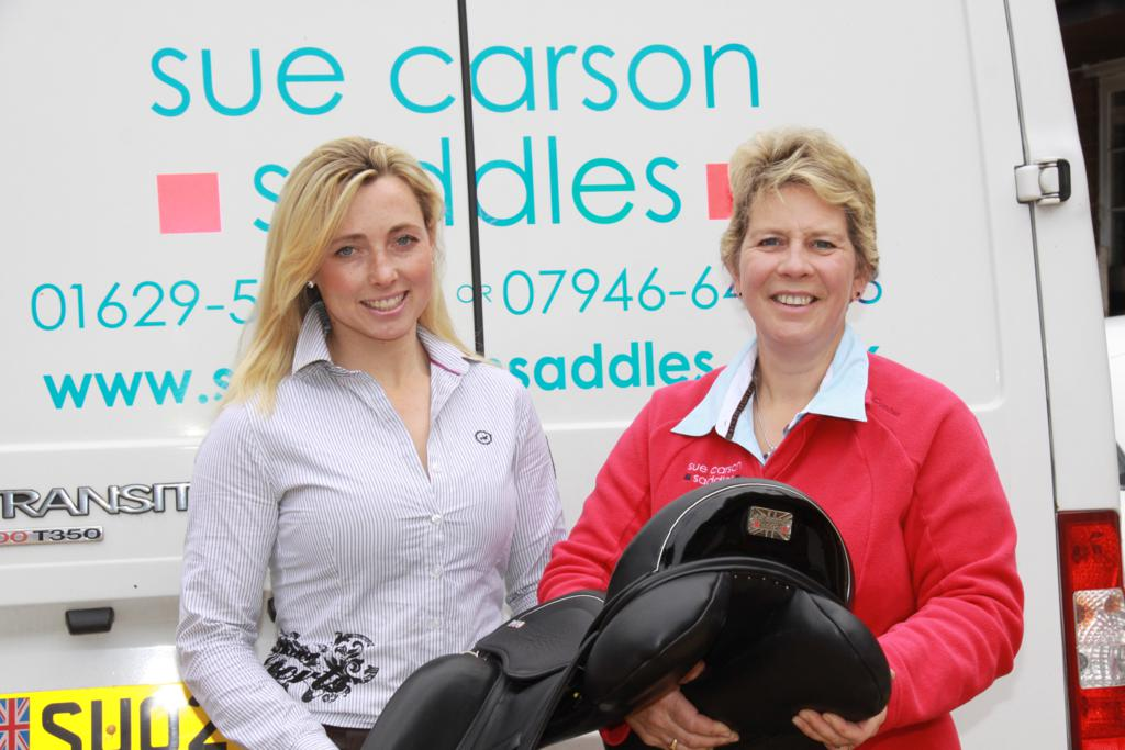 Emma HyslopleftSueCarson - Event rider Emma Hyslop secures support from Sue Carson Saddles
