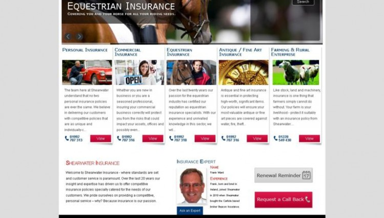 New Shearwater Website 750x426 - A new online presence for Shearwater Insurance