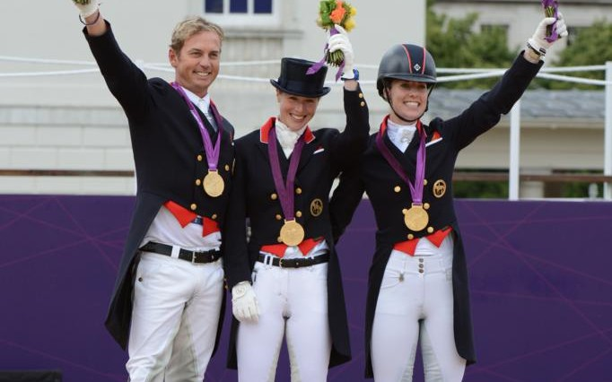 Team GB Carl Hester and Charlotte with Laura B 682x426 - Double GB gold medallist Charlotte Dujardin joins Team champion Carl Hester in Spanish Riding School's 2012 UK tour