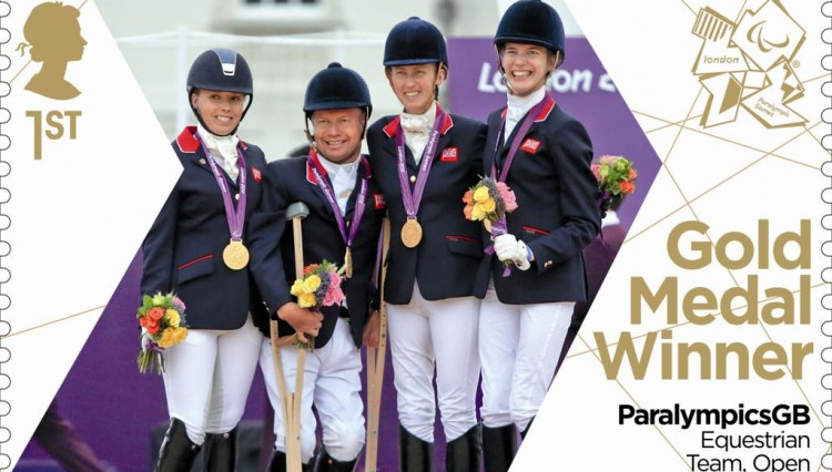Equestrian team 750x426 - EQUESTRIAN TEAM WIN CELEBRATED WITH PARALYMICSGB GOLD MEDAL STAMP