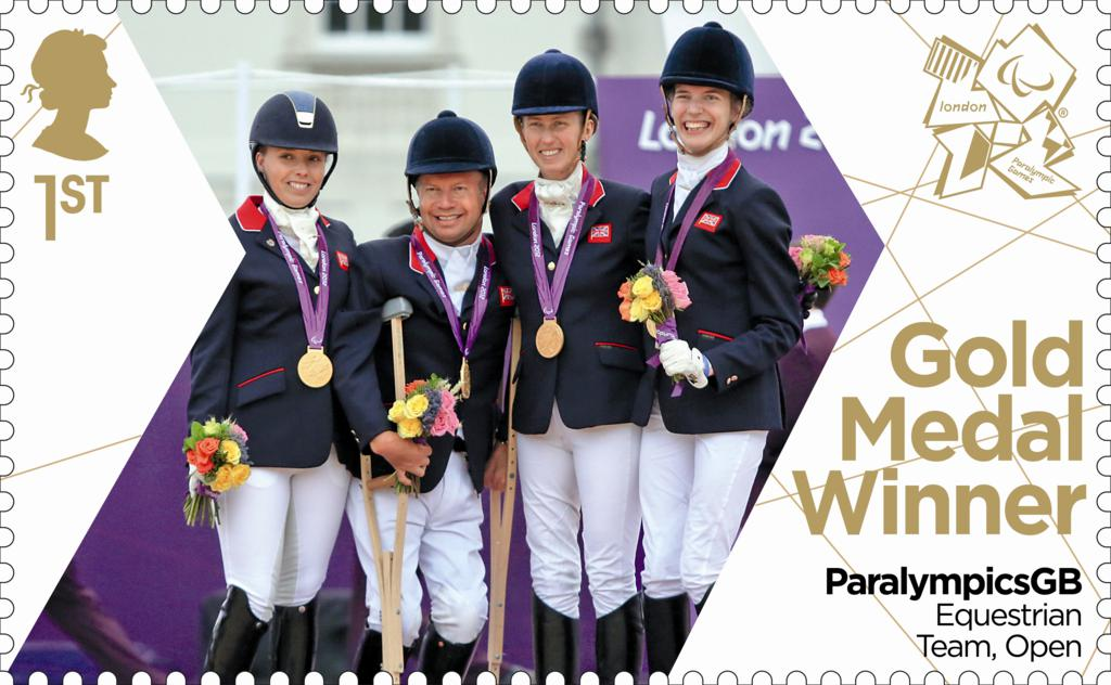 Equestrian team - EQUESTRIAN TEAM WIN CELEBRATED WITH PARALYMICSGB GOLD MEDAL STAMP