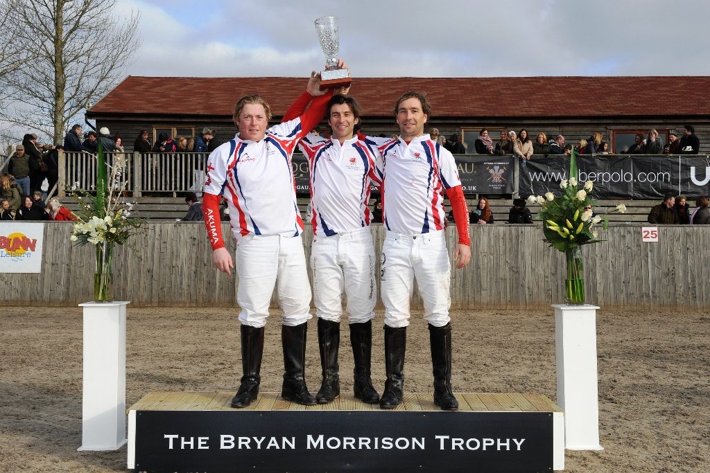 England winning team - England retains Bryan Morrison trophy in Hickstead's International Arena Polo Test Match