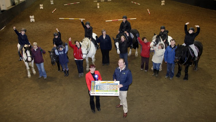 RDA Cheque 037 750x426 - Riding for the Disabled receive £100,000 from players of People's Postcode Lottery
