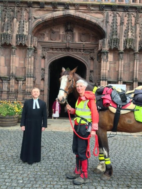 William at Chester Cathedral - Successful 2,600 mile Ride Round England included our region!