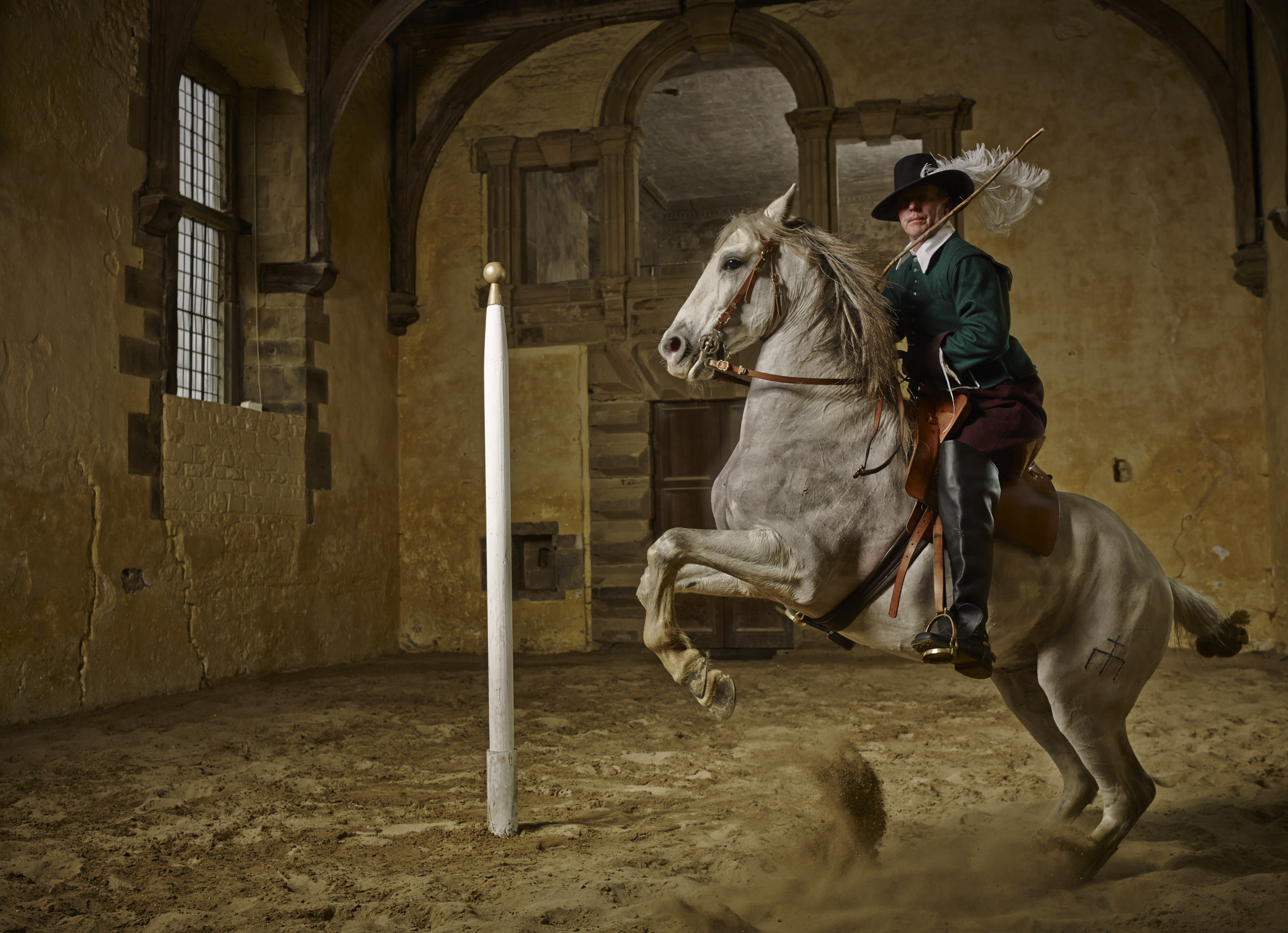 211 01 028 HT image - French Dancing Horses At The Home Of 17th Century Master Horseman William Cavendish