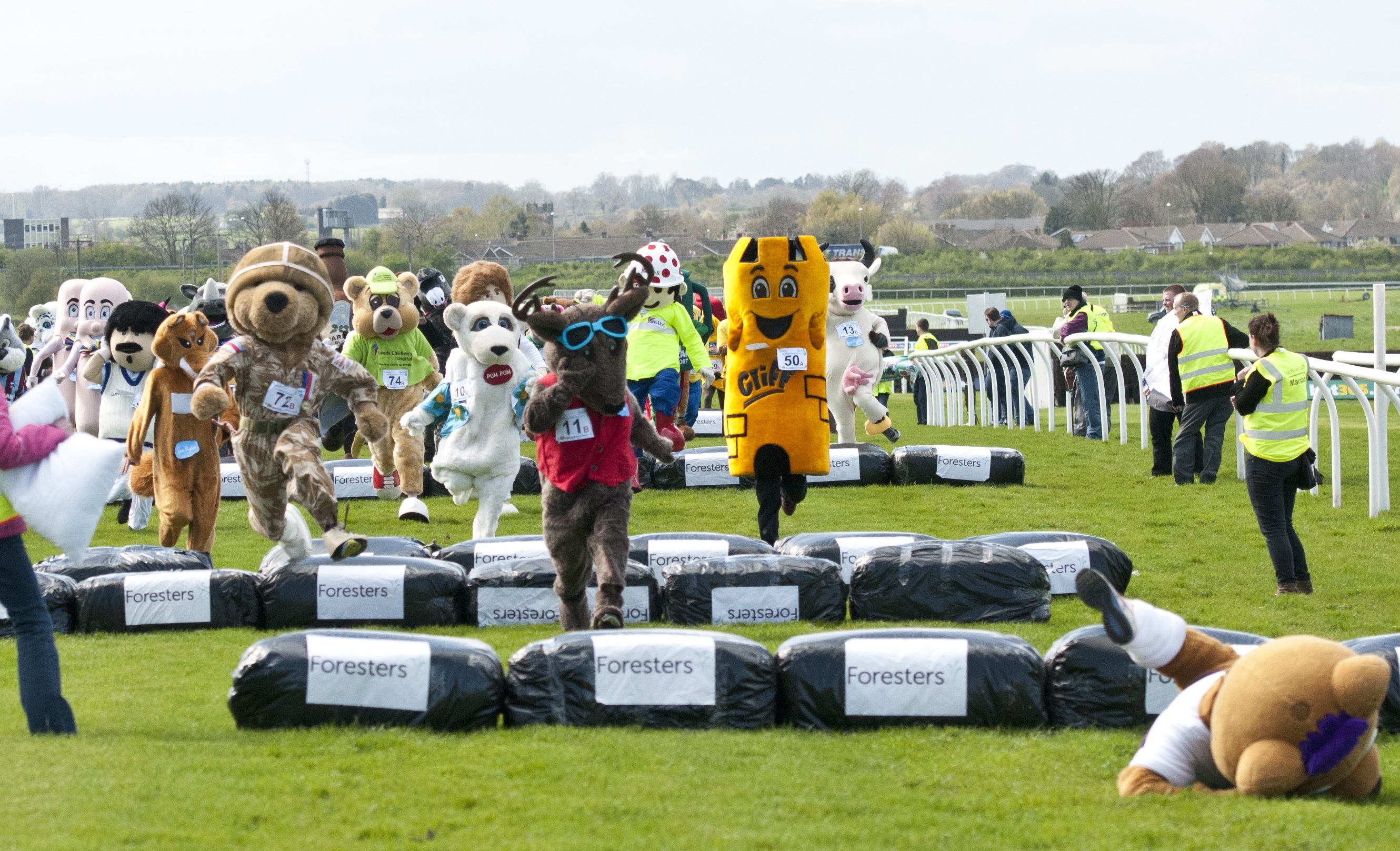 Berry Bear Fall cropped - Mascots to establish World Record at Wetherby Next Sunday.