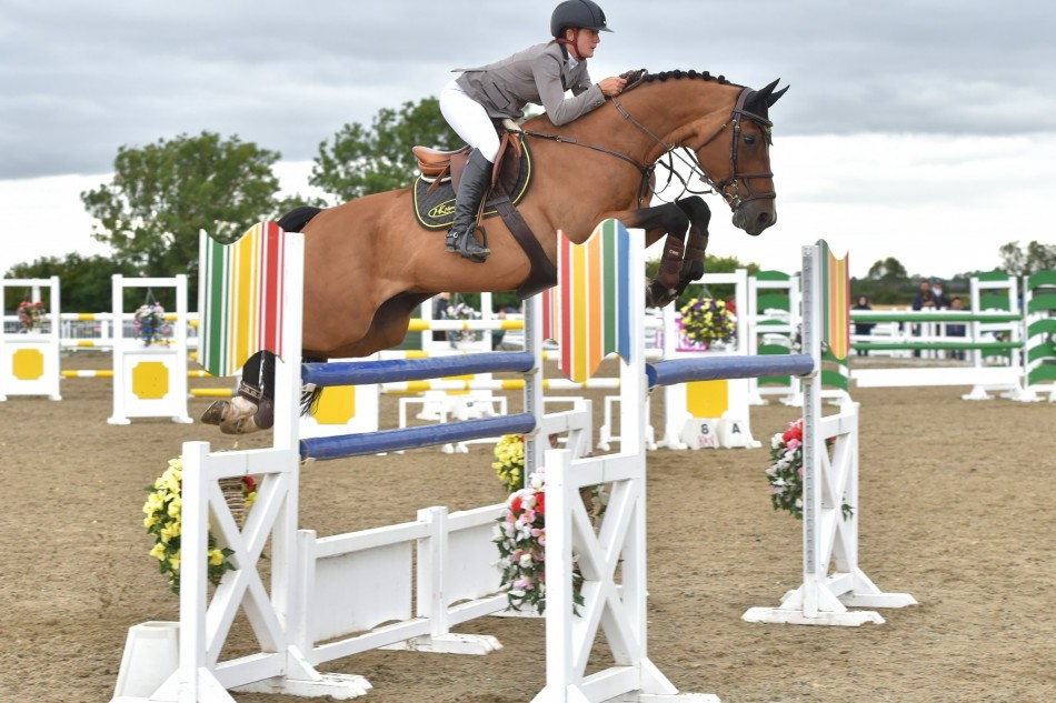 West Yorkshire's Showjumper Morgan Kent shares the win in the Horse & Hound Senior Foxhunter Second Round at Arena UK
