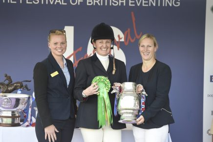 left to right Jess Burbage of TopSpec Andrea Clark and Zara Tindall 436x291 - Andrea and Murphy's Bonanza Head The TopSpec Challenge for the Corinthian Cup at Gatcombe