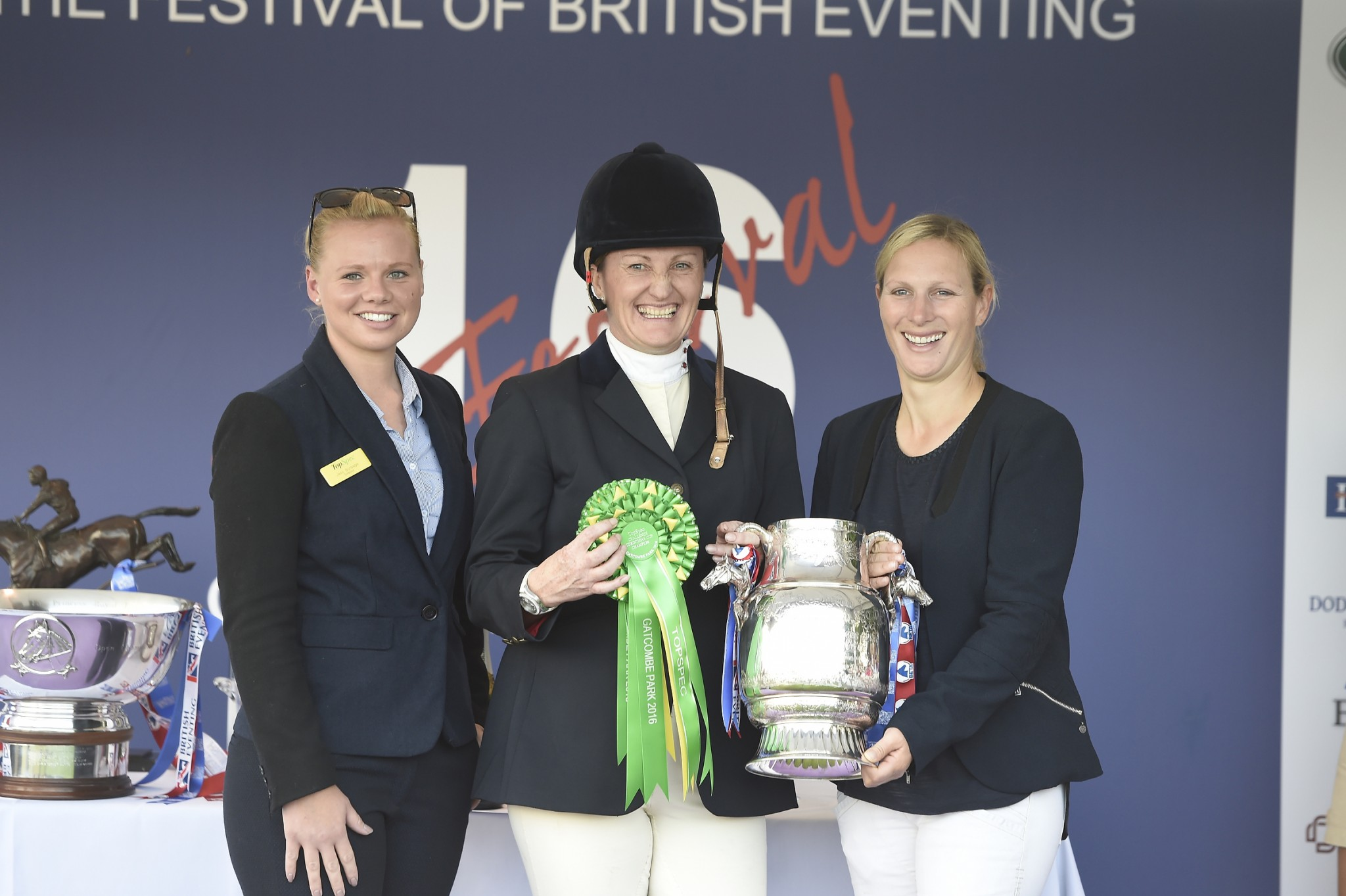 left to right Jess Burbage of TopSpec Andrea Clark and Zara Tindall - Andrea and Murphy's Bonanza Head The TopSpec Challenge for the Corinthian Cup at Gatcombe