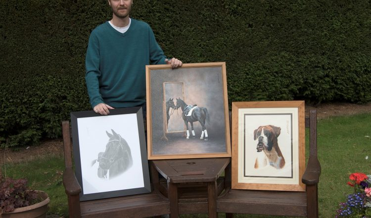 For Andrew the best part of his job is seeing the recipents reaction when they see the finished painting 1 750x440 - 10 Things You Didn't Know About Andrew Howard of Yorkshire Pet Portraits