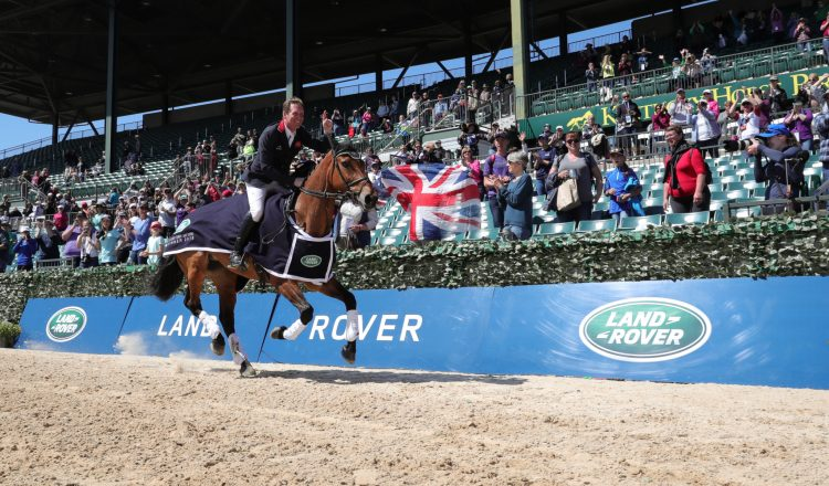 Oliver Townend celebrates with British fans. Credit Neilson Barnard   Getty Images for Jaguar Land Rover 750x440 - Great Britain's Oliver Townend Crowned Winner Of The 2018 Land Rover Kentucky Three-Day Event