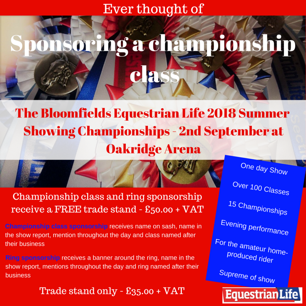 Sponsoring a championship class 1024x1024 - The Bloomfields Equestrian Life Summer Showing and Working Hunter Championships 2018