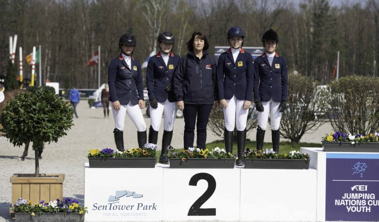 Team LeMieux L R Shaunie Greig Holly Truelove Chef dEquipe Clare Whitaker Megan Li Claudia Moore 750x440 - Team LeMieux finish second in opening Pony Nations Cup of 2019 at Opglabbeek