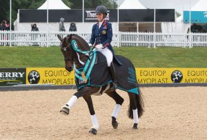 Charlotte Dujardin and Erlentanz winning the Equitop Myoplast Grand Prix Freestyle 300x203 - Scintillating Dressage Double for Dujardin