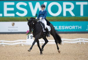 Robyn Smith and Francesco 77 win the NFU Mutual Prix St Georges 300x204 - Scintillating Dressage Double for Dujardin