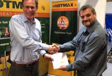 Tim Smalley Managing Director of BEDMAX Ltd with Andrew Hopton Director for Woodsure 360x245 - BEDMAX's Heat Logs Receives Environmental Thumbs Up with Woodsure Accreditation
