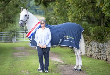 Clare Blaskey and Champion Hunter Greenhall Cecil Mole Valley low res 1 360x245 - Blue Chip Founder having Show Season to remember