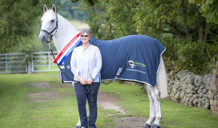 Clare Blaskey and Champion Hunter Greenhall Cecil Mole Valley low res 1 750x440 - Blue Chip Founder having Show Season to remember
