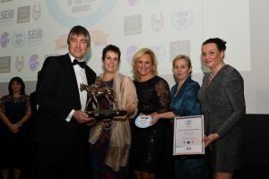 1 L to R Andrew And Vivienne Newton of Court Bank Farm Gemma Tattersall Dr Frances Henson Suzy Middleton 300x200 - Best of British celebrated in the SEIB Livery Yard and Riding School of the Year Awards
