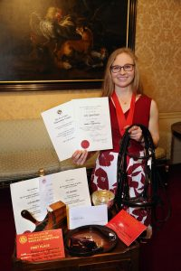 Lily Spackman with her awards 200x300 - HRH The Princess Royal Attends Society of Master Saddlers' National Saddlery Competition