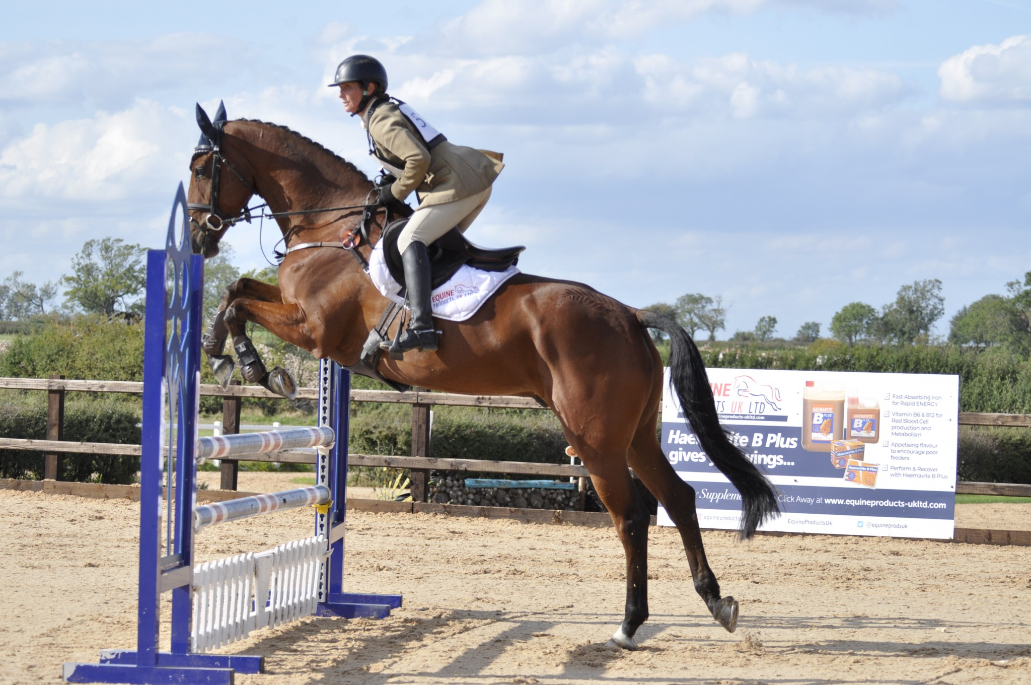 Sponsored rider Caroline Powell jumping at Vale View - Equine Products UK celebrates 40 years of supporting horse owners and trainers around the world