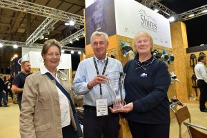 BETA President Jane Holderness Roddam Malcolm Ainge of Shires and BETA International organiser Claire Thomas 300x200 - New Move to Stoneleigh Proves a Huge Success for BETA International 2021